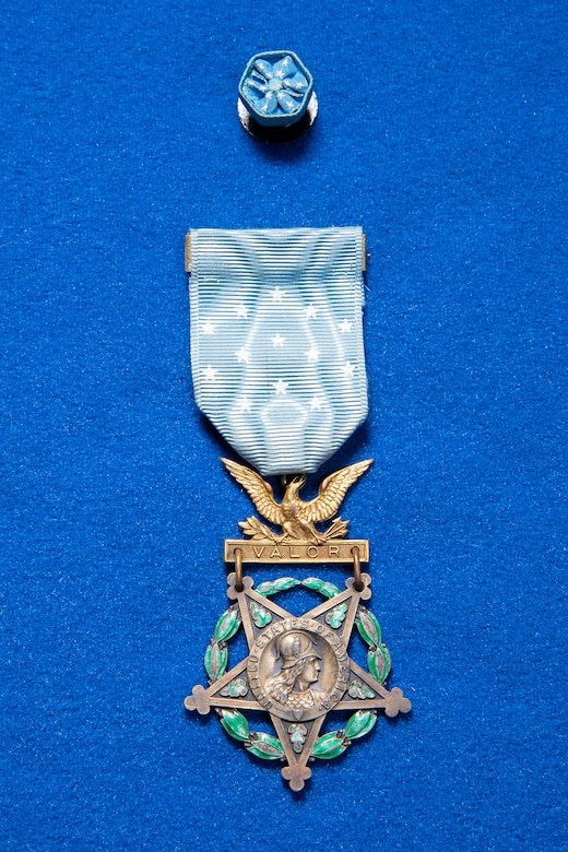WWI pilot Lt. Harold E. Goettler Medal of Honor on display in the Early Years Gallery at the National Museum of the U.S. Air Force. (U.S. Air Force photo by Ken LaRock)