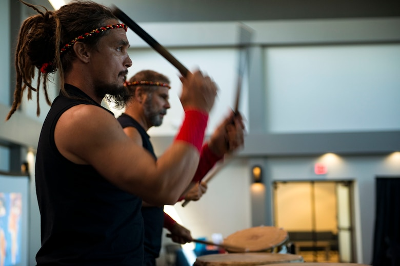 Tampa Taiko drummers perform at an event during the 23d Wing Diversity Day, Sept. 14, 2018, at Moody Air Force Base, Ga. Diversity Day honored the cultures of all groups and organizations observed by the Department of Defense using forms of expression such as poems and native dances. The theme of this year was 'Many Cultures, One Voice: Stronger Through Inclusion And Equality'. (U.S. Air Force photo by Airman 1st Class Erick Requadt)