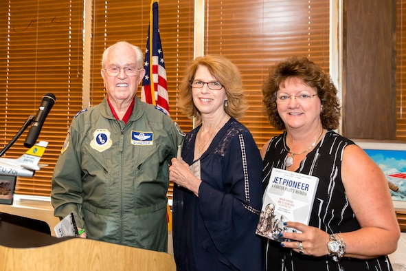 Members of the AEDC Woman's Club welcome Maj. Gen. Carl G. Schneider, who served 32 years in the Air Force, to the Sept. 6 meeting at the Arnold Lakeside Center. Pictured are General Schneider, Cathy Welch and Liz Jolliffe. (Photo submitted)