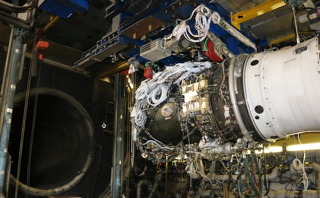 AEDC test teams were conducting testing on the Rolls-Royce engine pictured here when facility crews at Arnold Air Force Base determined plant equipment needed to be replaced. The equipment was replaced quickly and the Rolls-Royce test was successfully completed prior to a scheduled maintenance outage for the engine test facilities at Arnold. (U.S. Air Force photo by Deidre Ortiz)