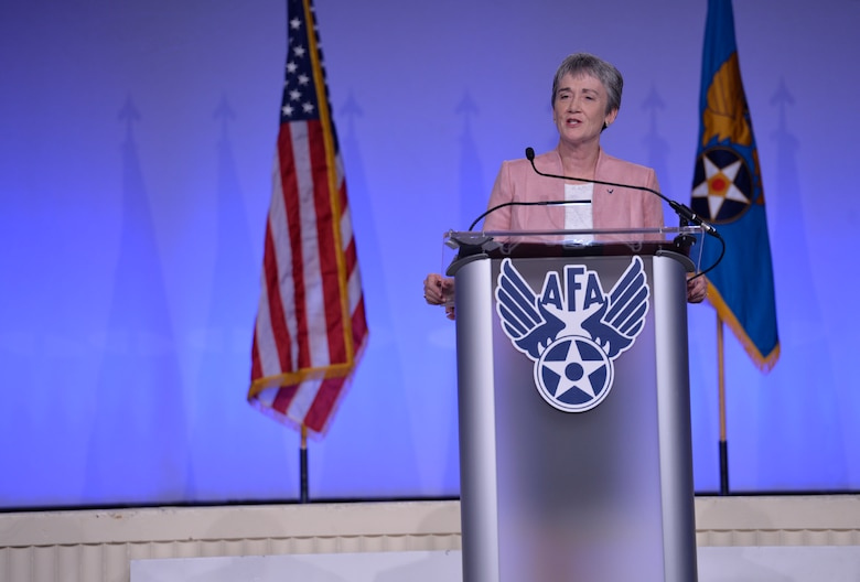 "Secretary of the Air Force Heather Wilson delivers her ""Air Force We Need"" speech during the 2018 Air Force Association's Air, Space and Cyber Conference in National Harbor, Md., Sept. 17, 2018. The Air, Space and Cyber Conference is a professional development conference that offers an opportunity for Department of Defense personnel to participate in forums, speeches, seminars and workshops. (U.S. Air Force photo by Tech. Sgt. DeAndre Curtiss)"