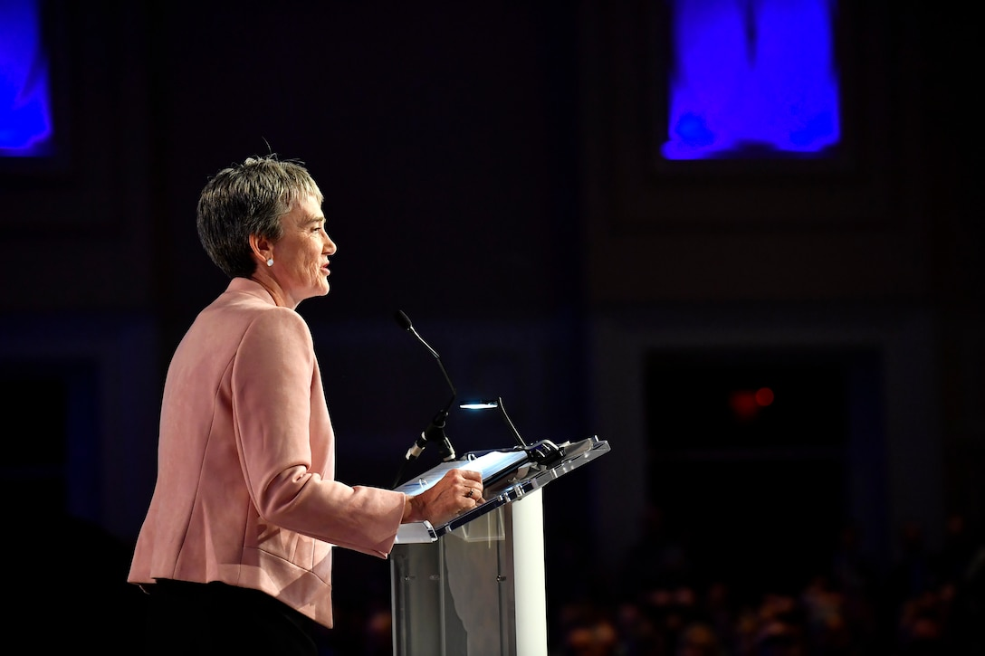 "Secretary of the Air Force Heather Wilson delivers her the ""Air Force We Need"" address during the 2018 Air Force Association Air, Space and Cyber Conference in National Harbor, Md., Sept. 17, 2018. During her remarks, Wilson stressed the Air Force will need more active, Guard and Reserve Airmen to fully enable the service's operational squadrons. (U.S. Air Force photo by Staff Sgt. Rusty Frank)"