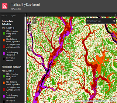 The U.S. Army Corps of Engineers provides the following trafficability inundation mapping tool for reference by the public. These maps indicate the severity of water in regions affected by the recent Florence storm event and how they may impact vehicle movement in the area. Basins covered by this analysis include the Catawba, Pee Dee, Cape Fear, Lumber, Neuse, Tar, Yakin, and Roanoke basins: