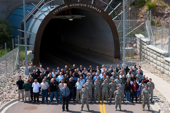Members of the 721st Communications Squadron pose for a group photo outside the North Portal to the Cheyenne Mountain Complex on Cheyenne Mountain Air Force Station, Colorado, Sept. 5, 2018.  (U.S. Air Force photo by David Meade)