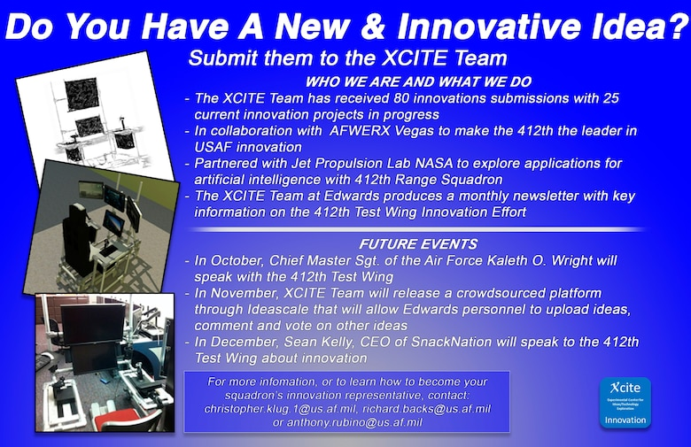Edwards Air Force Base personnel are challenged by the 412th Test Wing Commanding General, Brig. Gen. E. John Teichert to look for ways to innovate and inspire new ideas. (U.S. Air Force graphic by Giancarlo Casem)