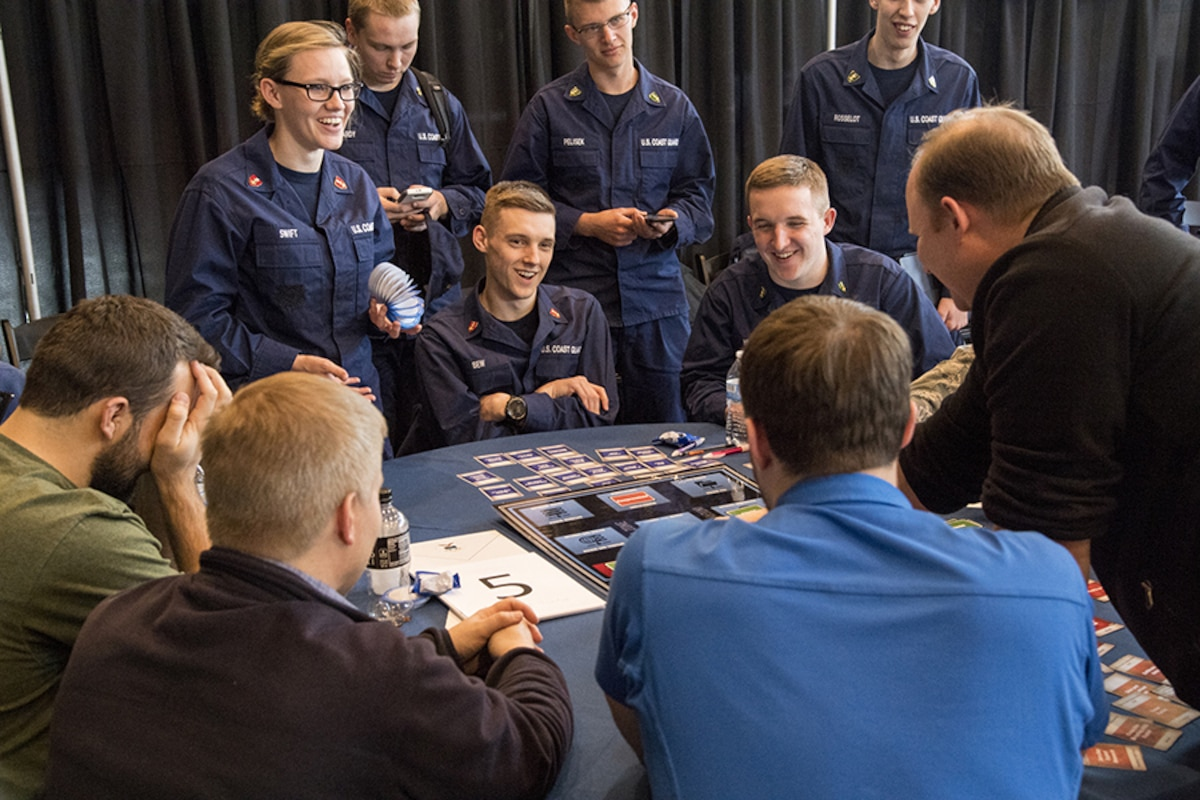 US Coast Guard participants share a laugh during NCX in Annapolis, MD