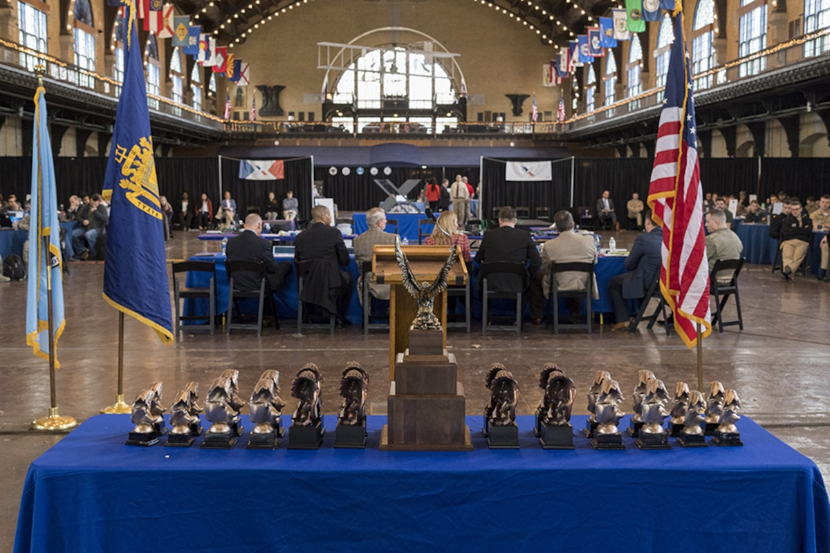 Awards are lined up on a table during the NCX at the US Naval Academy in Annapolis, MD