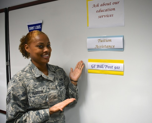 The 932nd Airlift Wing held a professional development seminar recently and Tech Sgt. Adonna Hudson spoke on September 11, 2018 at Scott Air Force Base, Illinois.  She addressed the groups of Airmen about education services available through the reserve.  This includes tuition assistance and the GI Bill along with the Post 911 programs.  (U.S. Air Force photo by Lt. Col. Stan Paregien)