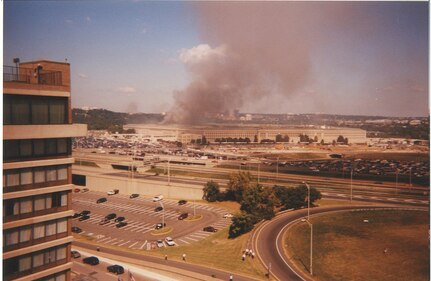 A view of the Pentagon following the attack using Flight 77 as a weapon, taken by Col. (Retired) Larry Ciancio, from his hotel room Sept. 11, 2001.