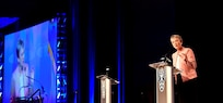 """Secretary of the Air Force Heather Wilson delivers her """"The Air Force We Need"""" address during the 2018 Air Force Association Air, Space and Cyber Conference in National Harbor, Maryland, Sept. 17. During her remarks, Wilson stressed the Air Force will need more active, Guard and Reserve Airmen to fully enable the service's operational squadrons."""