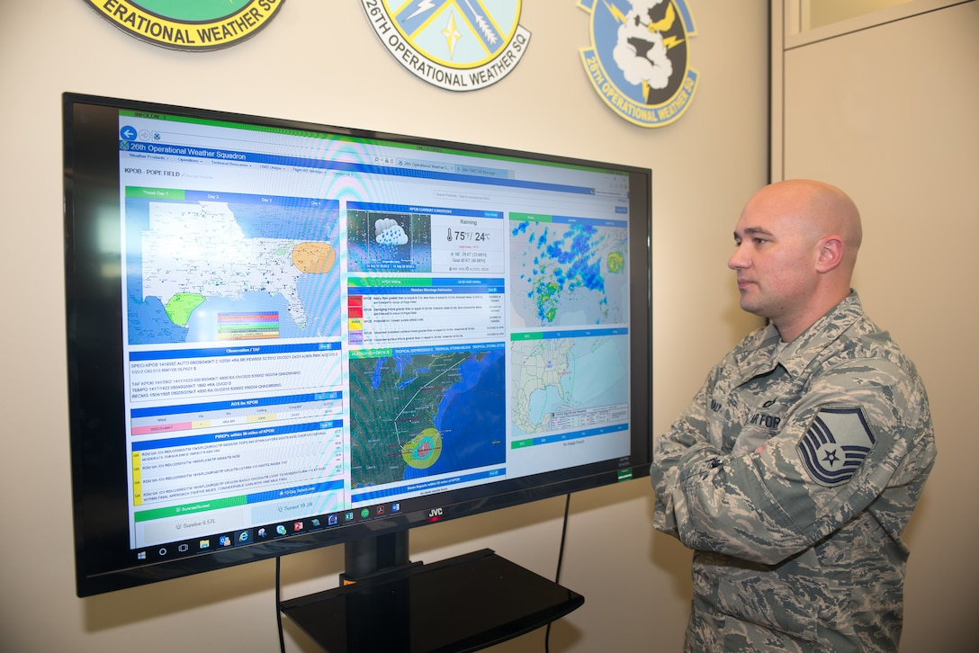 Master Sgt. Brandon Healy, 1st Weather Group (WXG) superintendent of systems and training, monitors the progress of Hurricane Florence on the 26th Operational Weather Squadron's (OWS) webpage September 14, 2018 at Offutt Air Force Base, Nebraska. Healy managed the implementation of 1st WXG's OWS webpages. (U.S. Air Force photo by Paul Shirk)