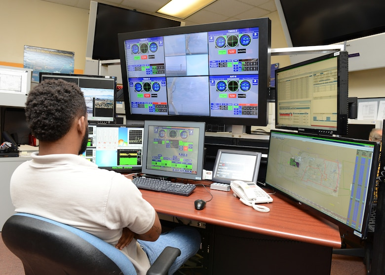 At Ridley Mission Control Center, an employee sits in front of the Single Operator Multiple Antennas station developed by the 412th Range Squadron June 7, 2016. SOMA is an example of the types of innovation that Brig. Gen. E. John Teichert, 412th Test Wing Commander, wishes to be developed. For the original article, please follow the link: https://www.edwards.af.mil/News/Article/828304/join-412th-tw-on-its-innovation-journey/ (U.S. Air Force photo by Kenji Thuloweit)