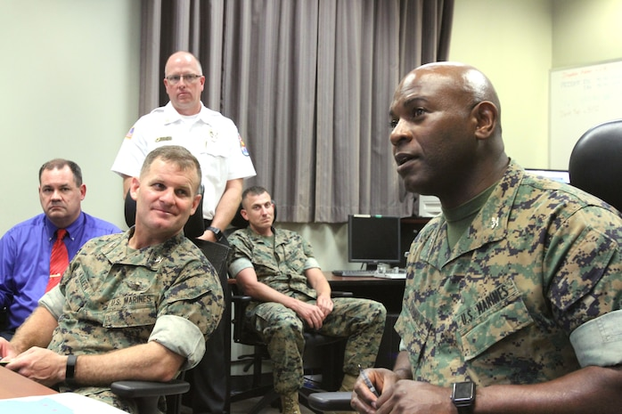 Marine Corps Logistics Base Albany officials are preparing to house recruits and permanent personnel from Marine Corps Recruit Depot Island, S.C., due to Hurricane Florence's potential landfall this week. MCLB Albany's Commanding Officer Col. Alphonso Trimble and MCRD Parris Island, Headquarters and Service Battalion, Commanding Officer Col. Sean Killeen are closely monitoring the events of the storm at MCLB Albany's Emergency Operations Center. (U.S. Marine Corps photo by Re-Essa Buckels).