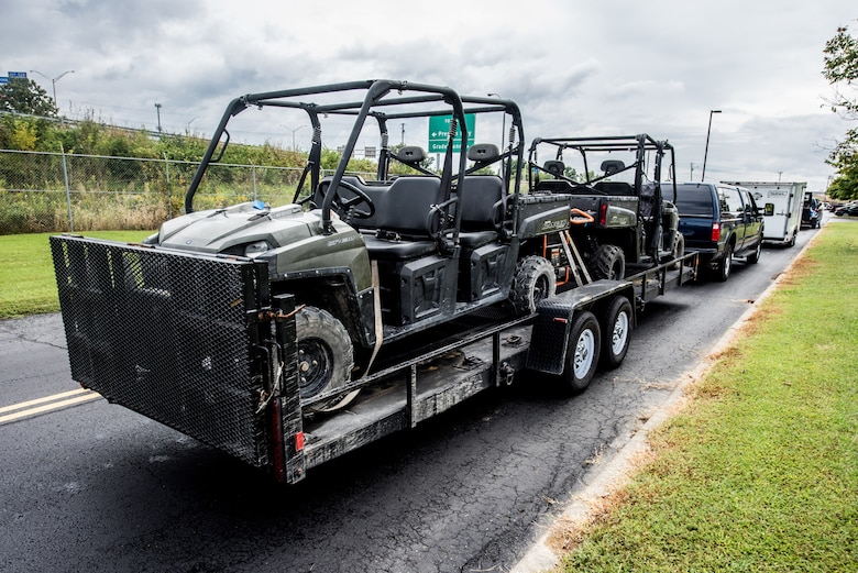 Equipment awaits deployment along with 11 members of the 123rd Airlift Wing's Fatality Search and Recovery Team at the Kentucky Air National Guard Base in Louisville, Ky., Sept. 17, 2018. The team, which specializes in the dignified recovery of deceased personnel, is deploying to North Carolina to assist the medical examiner's office in the wake of Hurricane Florence.