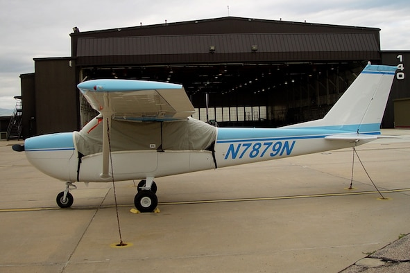 A Cessna T-41 military training aircraft assigned to the Rocky Mountain U.S. Air Force Flight Training Center sits on the flight line after being repaired from a hail storm on Peterson Air Force Base, Colorado, July 28, 2016. The T-41 belongs to the Peterson Aero Club which provides training courses for pilots, pilots who want to get different ratings, private pilot licenses, and several other certifications to Department of Defense military and civilian members. (Courtesy photo)