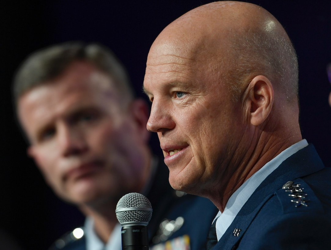 """Gen. John Raymond, Commander, Air Force Space Command, discusses projecting airpower during the """"Fighting Under Fire"""" panel at the Air Force Association Air, Space and Cyber Conference in National Harbor, Md., Sept. 17, 2018. (U.S. Air Force photo by Andy Morataya)"""