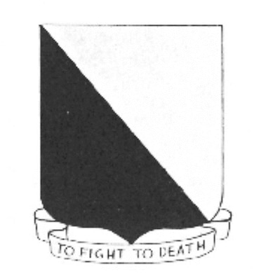 """In 1972, The 14th FTW was temporarily presented the lineage and honors of the 14th Fighter Group. The emblem, designed for the 14th FG, was a simple black and white shield with the words """"TO FIGHT TO DEATH"""" written in the scroll below the shield."""