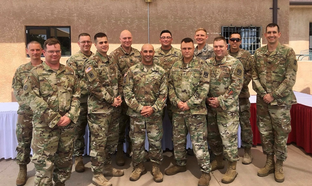 Capt. Jason Allenton, back row third from right, assigned to the 225th Air Defense Squadron, graduates with 11 Army officers from Air Defense Artillery Fire Control Officers (ADAFCO), Kirkland Air Force Base, New Mexico, July 27, 2018.   Experience gained at the ADAFCO course assists the Western Air Defense Sector in mission planning, execution and coordination of Army assets as part of Operation Noble Eagle. (Courtesy photo by Capt. Jason Allenton)