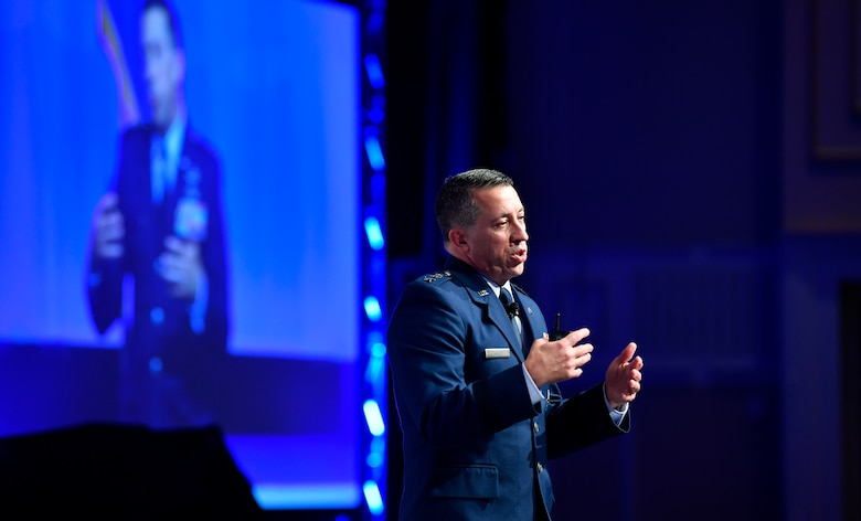 Lt. Gen. Brian Kelly, Deputy Chief of Staff for Manpower, Personnel and Services, gives an Air Force personnel update during the Air Force Association's Air, Space and Cyber Conference in National Harbor, Md., Sept. 17, 2018. The Air, Space and Cyber Conference is a professional development conference that offers an opportunity for Department of Defense personnel to participate in forums, speeches, seminars and workshops. (U.S. Air Force photo by Wayne Clark)
