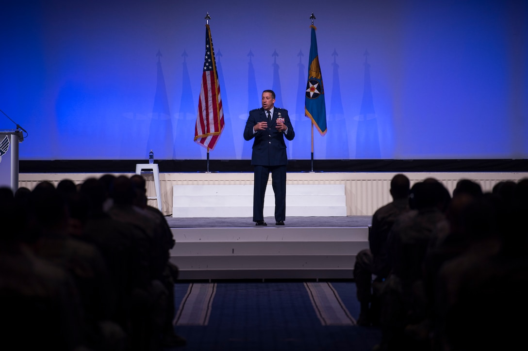 Lt. Gen. Brian Kelly, Deputy Chief of Staff for Manpower, Personnel and Services, gives an Air Force personnel update during the Air Force Association's Air, Space and Cyber Conference in National Harbor, Md., Sept. 17, 2018. The Air, Space and Cyber Conference is a professional development conference that offers an opportunity for Department of Defense personnel to participate in forums, speeches, seminars and workshops. (U.S. Air Force photo by Tech. Sgt. DeAndre Curtiss)