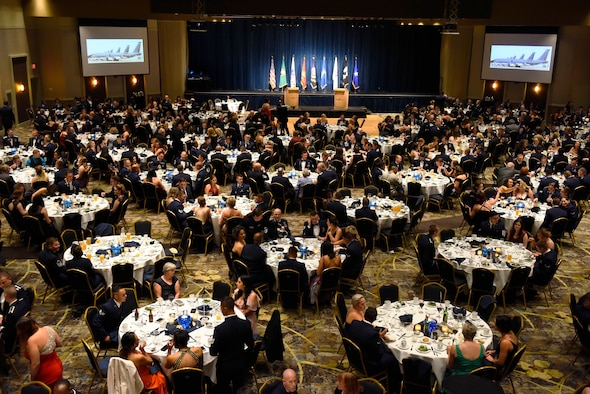 Military and civilian attendees gather to celebrate Fairchild's Air Force Ball at Northern Quest Resort and Casino in Airway Heights, Washington, Sept. 15, 2018.  The ball commemorated the 71st birthday of the Air Force, as well as the 60th anniversary of the first KC-135 Stratotanker at Fairchild. (U.S. Air Force photo/Airman 1st Class Lawrence Sena)