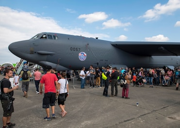 An Air Force Reserve Command B-52 Stratofortress, assigned to the 307th Bomb Wing, Barksdale Air Force Base, Louisiana, is on display at Ostrava Air Base, Czech Republic, during NATO Days. NATO Days is a Czech Republic-led air show and exhibition that showcases military ground and aviation capabilities from 19 nations. Participation in NATO Days increases our understanding of European ally and partner capabilities, greatly enhancing our ability to operate together as a team. (U.S. Navy photo by Mass Communication Specialist 2nd Class Robert J. Baldock)