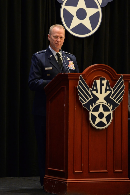 "Lt. Gen. Mark D. Kelly, Air Force deputy chief of staff or operations, delivers his speech on ""The Force We Present"" during the Air Force Association's Air, Space and Cyber Conference Sept. 17, 2018, in National Harbor, Md. The Air, Space and Cyber Conference is a professional development conference that offers an opportunity for Department of Defense personnel to participate in forums, speeches, seminars and workshops. (U.S. Air Force photo by Airman 1st Class Zoe M. Wockenfuss)"