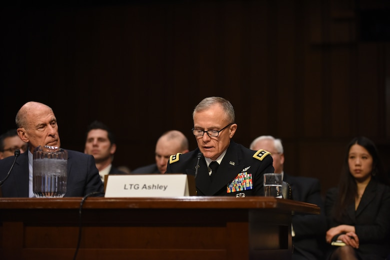 Defense Intelligence Agency Director Army Lt. Gen. Robert P. Ashley Jr. testifies before the Senate Armed Services Committee.