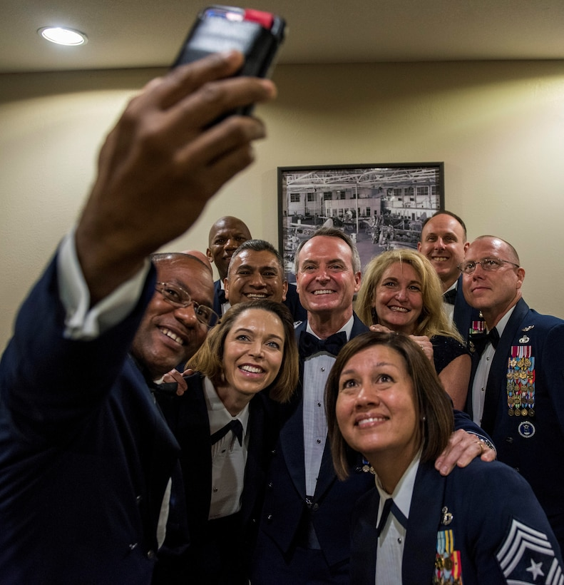 Retired Lt. Gen. Darryl Roberson poses in a group photo with Air Education and Training Command Chiefs Sept. 13, 2018 at Luke Air Force Base, Ariz.