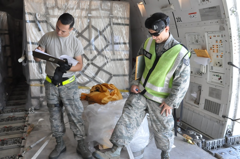 Tech. Sgt. David Lauritzen and Staff Sgt. Abner Lopez, 730th Air Mobility Squadron special handling professionals, inspect and sign for registered mail at Yokota Air Base, Japan, 22 Aug. 2018. Air Mobility Command sustains 42 en-route locations around the globe through the use of a complex system of channels. These channels enable transport of personnel and worldwide cargo from location to location to sustain the joint warfighter.