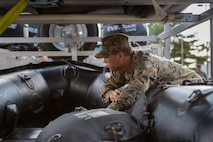 Sgt. Steven M. Holmes, a Small Craft Mechanic with 3rd Force Reconnaissance Company, 4th Marine Division, inspects a F470 Combat Rubber Raiding Craft at McCrady Training Center, South Carolina, Sept. 17, 2018. Marine Forces Reserve has a great deal of expertise in the area of response and recovery, gained from Humanitarian Assistance/Disaster Relief across the globe and is part of a coordinated response poised to provide Department of Defense
