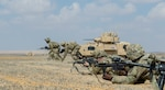 U.S Army Soldiers assigned to Company A, 1st  Battalion, 155th Infantry Regiment, 155th Armored Brigade Combat Team, Task Force Spartan, bound toward an objective during a rehearsal for a combined live-fire exercise near Alexandria, Egypt, Sept. 10, 2018.  The 155th ABCT is in the Arab Republic of Egypt taking part in Exercise Bright Star 18, a multilateral U.S. Central Command training exercise. Bright Star 18 provides an opportunity for U.S. Central Command to pursue better ways to address specific threats to regional security at the tactical, operational, and strategic levels with their Egyptian and other regional partners. (U.S. Army photo by Sgt. James Lefty Larimer)
