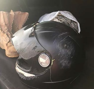 Helmet from a Colorado Army National Guardsmens motorcycle crash in 2015. The rider survived.