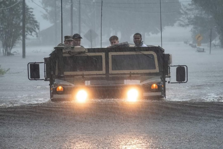 U.S. Army Soldiers help evacuate residents affected by Hurricane Florence with the use of a High Mobility Multi-purpose Wheel Vehicle. (Photo Credit: U.S. Army photo )