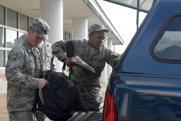 North Carolina Air National Guardsmen assigned to the 145th Logistics Readiness Squadron (LRS), load a truck with gear for an 11-person team ready to take party in Hurricane Florence Relief efforts at the North Carolina (N.C.) Air National Guard Base, Charlotte Douglas International Airport, Sept.17, 2018.  The 11-person team will create and move pallets filled with supplies like food and water in a Kinston, N.C. airport.
