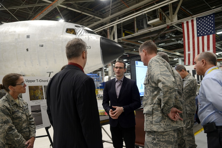 Assistant Secretary of the Air Force for Acquisition, Technology and Logistics Dr. Will Roper visited Tinker Air Force Base Sept. 13 to gain a better understanding of the Air Force Sustainment Center mission as the supporting command for readiness in the Air Force.