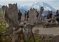 "Alaska-based service members discover the Eielson Visitor's Center area during Military Appreciation Day at Mile 66, Denali National Park and Preserve, Alaska, Sept. 15, 2018. This was the 11th annual Military Appreciation Day which included 400 ""road lottery"" tickets given out to Alaskan based military members. The Eielson Bluffs area has always been famous for its amazing views of Denali on clear days, and it is not uncommon to see wildlife on the surrounding hillsides."