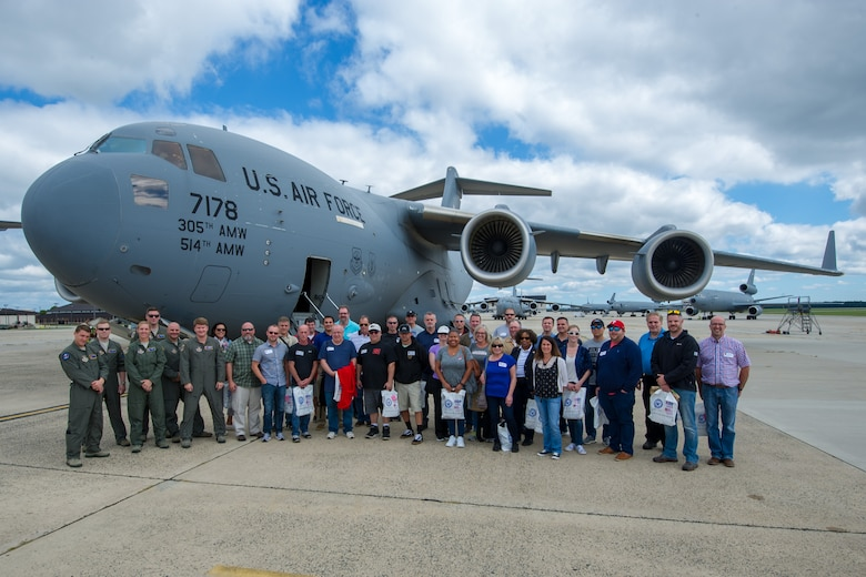 Reserve Citizen Airmen from the 732nd Airlift Squadron, 514th Air Mobility Wing, and 514th AMW employers return from a local flight  in a C-17 Globemaster III during the 514th's Employer Appreciation Day at Joint Base McGuire-Dix-Lakehurst, N.J., Sept. 15, 2018. The event was designed to show the employers what their employees do when they are serving with the 514th. The 514th is an Air Force Reserve Command Unit. (U.S. Air Force photo by SrA. Ruben Rios)