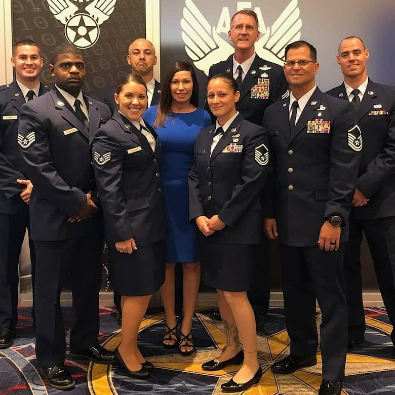 Reserve Citizen Airmen from the 920th Rescue Wing were awarded with the Air Force Association Unit Award Sept. 18, 2018 during the opening and awards ceremony at their annual Air, Space & Cyberspace Conference at the Gaylord Natonal Resort and Convention Center in National Harbour, Maryland. The wing is being recognized for its outstanding effort in rescuig two German Citizens whose sailboat caught fire and sunk 500 miles off the east coast of Cape Canaveral, Florida in July 2017.  (Courtesy photo)