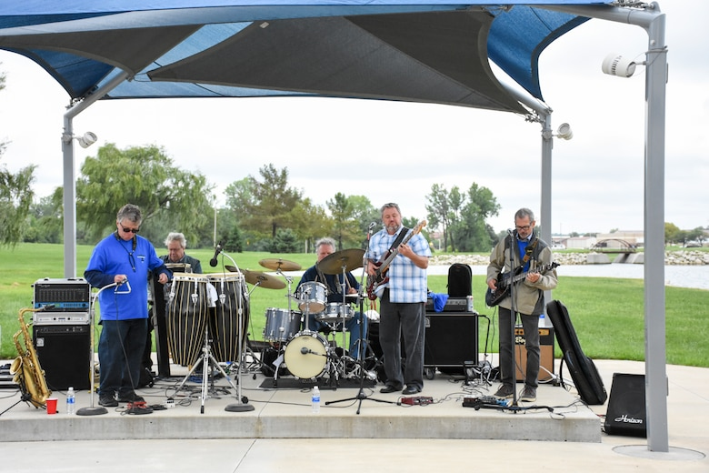 A funk band plays live music during the 442d Fighter Wing Family Day Sept. 9, 2018, at Ike Skelton Park on Whiteman Air Force Base, Mo.