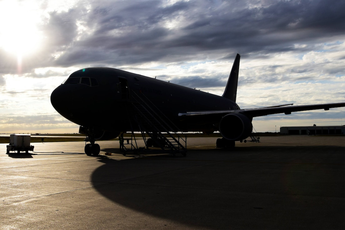 Experimental KC-46A arrives at Minot Air Force Base