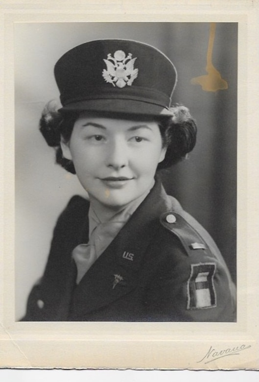 Retired U.S. Air Force Lt. Col. Martha Cameron, a World War II nurse and veteran, poses for a picture in 1944 while she was as a 1st Lt. U.S.