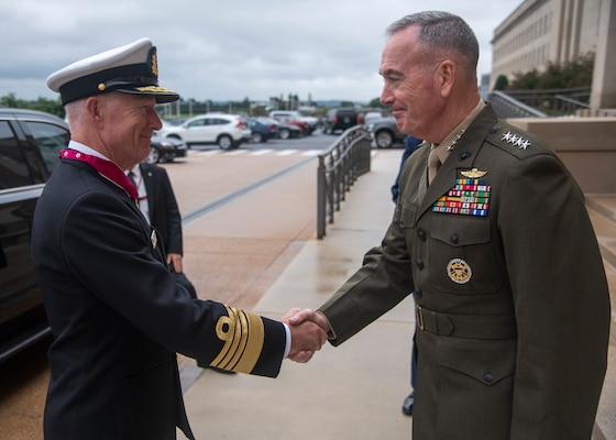 Marine Corps Gen. Joe Dunford, chairman of the Joint Chiefs of Staff, greets his counterpart Admiral Haakon Bruun-Hanssen, Norwegian chief of defense for a counterpart visit at the Pentagon,  Sept. 18, 2018.