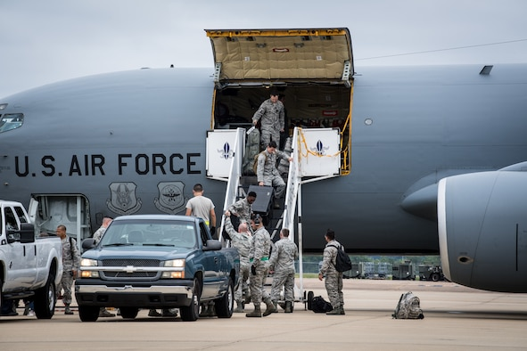 Aircraft and Airmen from Seymour Johnson Air Force Base, North Carolina, arrive to Barksdale Air Force Base, La., for a hurricane evacuation Sept. 11, 2018. (U.S. Air Force photo by Airman 1st Class Sydney Campbell)