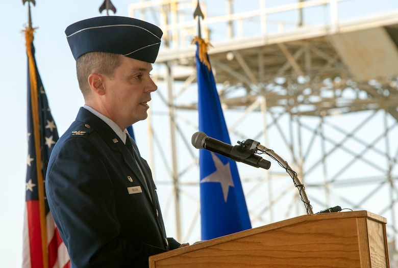 Col. Jeff Nelson, 60th Air Mobility Wing commander, provides remarks during an assumption of command ceremony at Travis Air Force Base, Calif., Sept. 18, 2018. Nelson assumed command of Air Mobility Command's largest wing. (U.S. Air Force photo by Heide Couch)