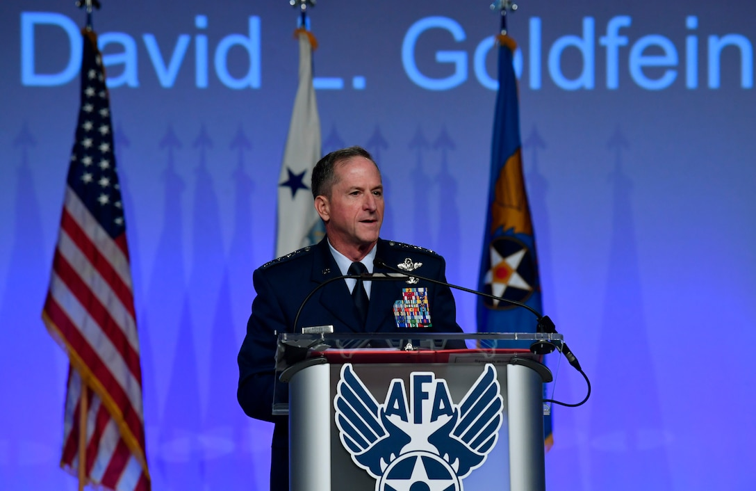 Air Force Chief of Staff Gen. David L. Goldfein, delivers his Air Force Update speech during the Air Force Association Air, Space and Cyber Conference in National Harbor, Md., Sept. 18, 2018. During his remarks, Goldfein highlighted his vision for the future of multi-domain operations. (U.S. Air Force photo by Wayne Clark)