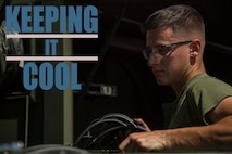 Pfc. Max Hulsey tests the operations of an environmental control unit (ECU) Sept. 17, 2018 at Camp Kinser, Okinawa, Japan. ECUs are serviced in and out of use to ensure they run properly when deployed. Hulsey, a native of Poulsbo, Washington, is a basic refrigeration and air conditioning technician with Electronic Maintenance Company, Maintenance Battalion, Combat Logistics Regiment 35. (U.S. Marine Corps photo by Lance Cpl. Jamin M. Powell)
