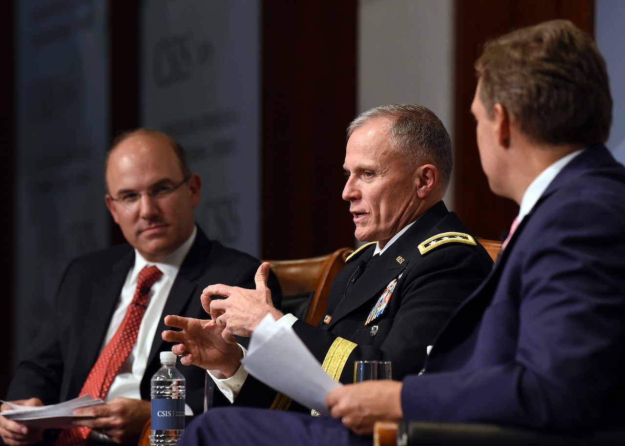 DIA Director Lt. Gen Robert P. Ashley addresses the moderators of the CSIS event, Dr. Seth Jones, Harold Brown Chair and director of the CSIS Transnational Threat Project, and Juan Zarate, chairman of the Financial Integrity Network and CSIS senior advisor, in Washington, D.C., September 17, 2018