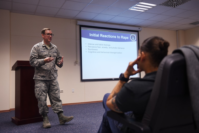 U.S. Air Force Capt. Nathanael Okhuysen, 39th Air Base Wing assistant staff judge advocate, briefs the 39th Security Forces Squadron members at Incirlik Air Base, Turkey, Sep. 4 2018.