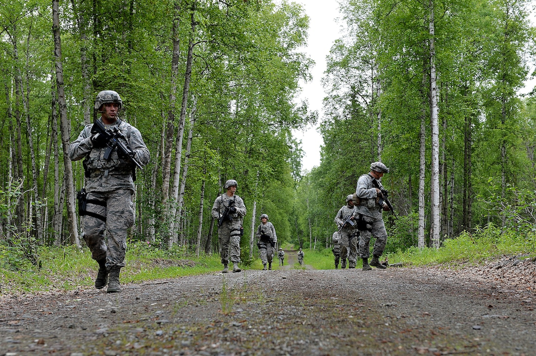 Airman with the 155th Security Forces Squadron from the 155th Air Refueling Wing, Nebraska, look for Improvised Explosive Devices during an IED awareness training exercise, June 22, 2017, at Joint Base Elmendorf-Richardson, Alaska.